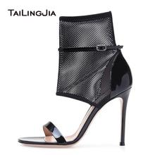Black High Heel Mesh Sandals Fishnet Ankle Strap Heels Laddies Sexy Dress Shoes Women Summer Booties Stiletto Large Size