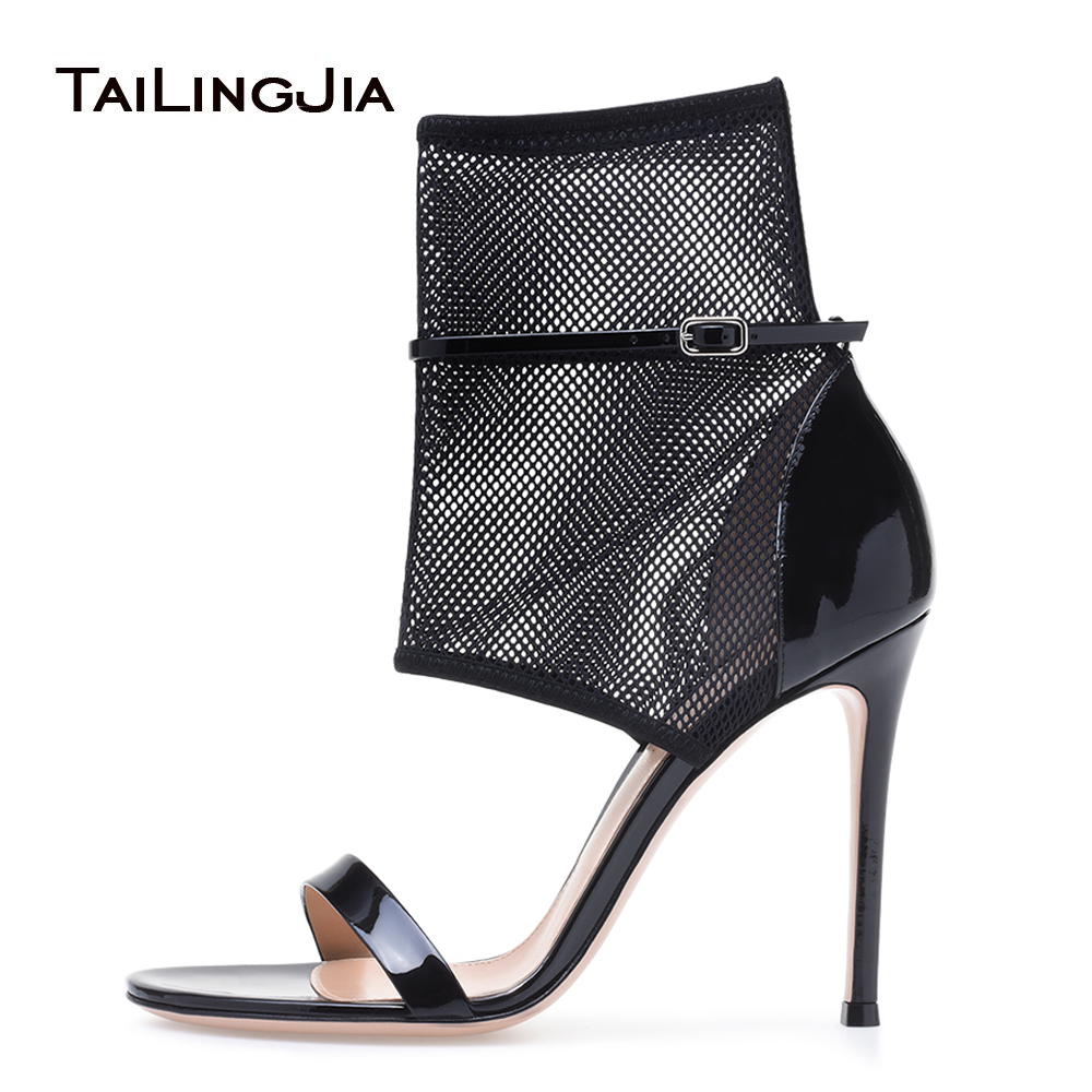 Black High Heel Mesh Sandals Fishnet Ankle Strap Heels Laddies Sexy Dress Shoes Women Summer Booties Stiletto Heels Large Size ...