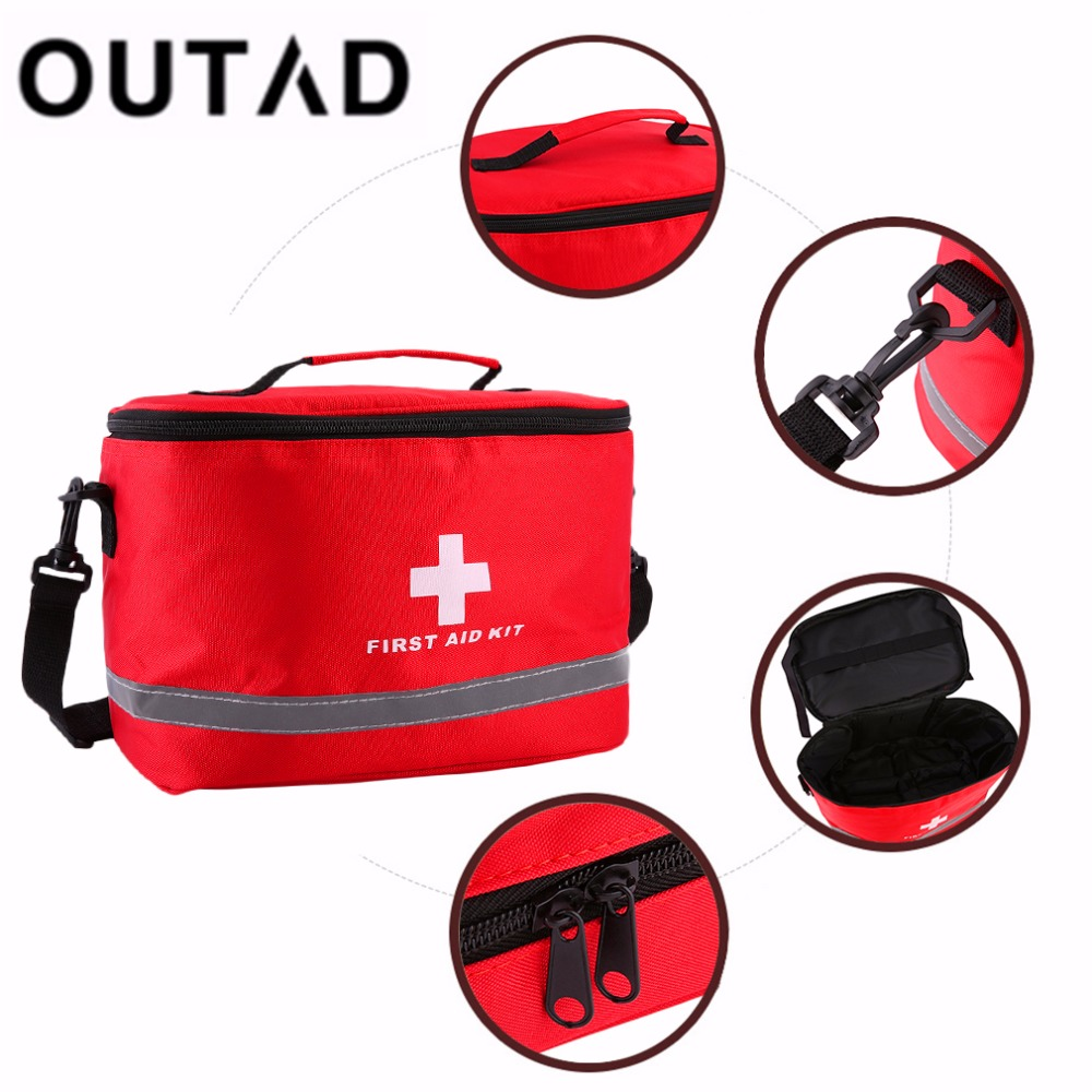 OUTAD Nylon Striking Cross Symbol High-density Ripstop Sports Camping Home Medical Emergency Survival First Aid Kit Bag Outdoors empty bag for travel medical kit outdoor emergency kit home first aid kit treatment pack camping mini survival bag