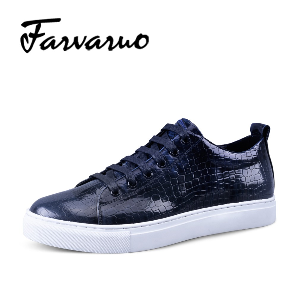 Farvarwo Italian Genuine Leather Crocodile Embossed Shoes Mens Luxury Brand Casual Lace Flat Round Toe Leisure Shoes 2017 Spring hot sale italian style men s flats shoes luxury brand business dress crocodile embossed genuine leather wedding oxford shoes
