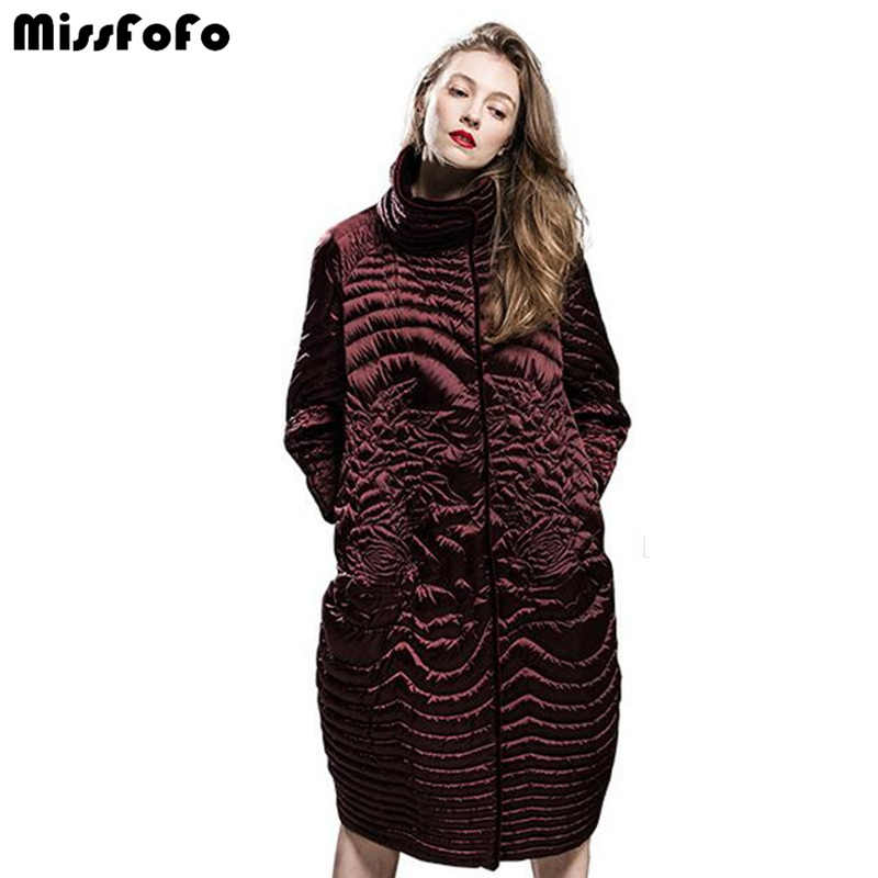 MissFoFo Women Down Coats CLJ Brand Jacket Rose New Down Parka High Quality New Technology Beautiful Thin Loose Female Down Coat