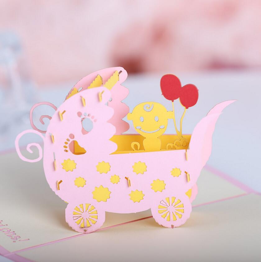10pcs 3D Creative Baby stroller Handmade Kirigami Origami Wedding ...