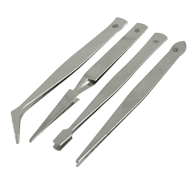 4pc/Set Tweezers DIY Crafts Modelling Soldering Trade Work Tool Stainless Steel Hand Repair Tools Pack Tweezers