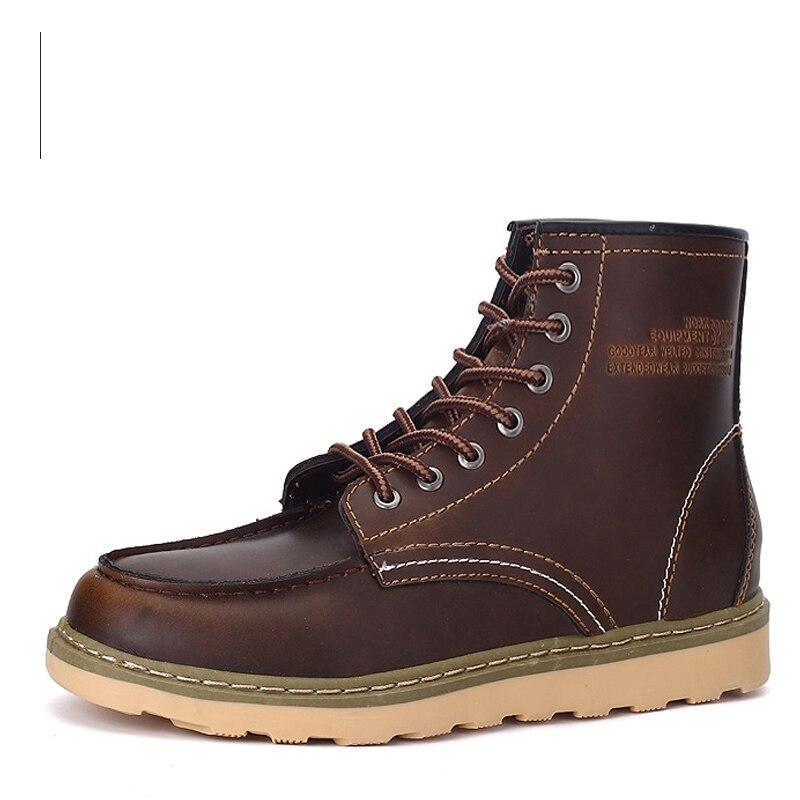 US $40.59 23% di SCONTO|Nizza Grandi Uomini Scarpe Stivali Moda Work & Safety Stivali utensili Stivali Stivali di Cuoio Casuali Lace Up Stivaletti 2