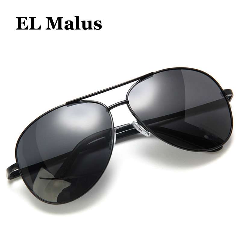 el Malus polarized Square Frame Sunglasses Men Male Night Vision Gray Silver Blue Lens Mirror Retro Brand Designer Sun Glasses Sunny