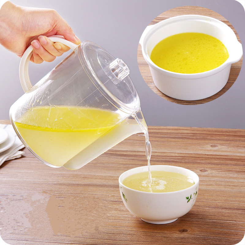 Large capacity PP plastic grease separation soup pot with scale juice milk storage bottles for kitchen bar supplies