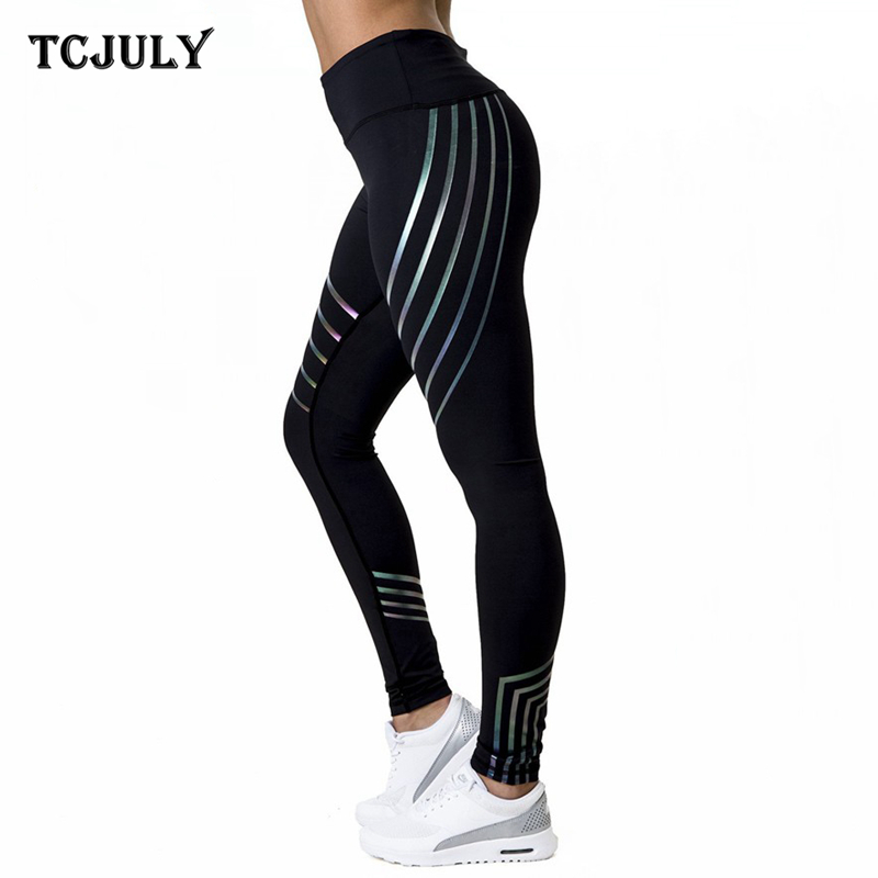 TCJULY Fashionable Holographic Women Workout   Leggings   Skinny Push Up Pants Reflective High Waist Stretchy Fitness Female Legins