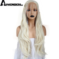 Anogol Platinum Blonde High Temperature Fiber Braided Long Natural Wave Synthetic Lace Front Wig For Women With Baby Hair