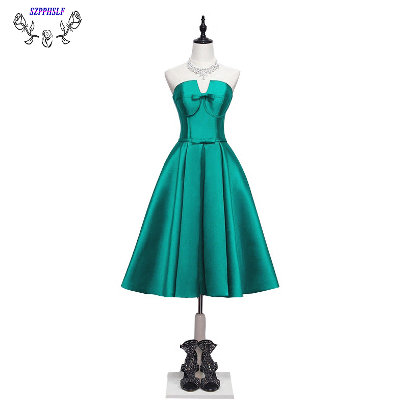 EMERALD GREEN short prom dresses 2017 tea length Sexy A line party evening Dresses Long formal evening gowns Vestidos Longo