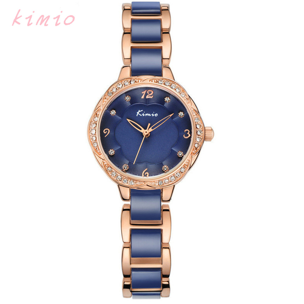 Prix pour KIMIO De Mode Bracelet Montres Pour Femme Cristal Diamant Quartz-Montre Relojes Mujer Casual Bleu Montre Femme Étanche Horloge