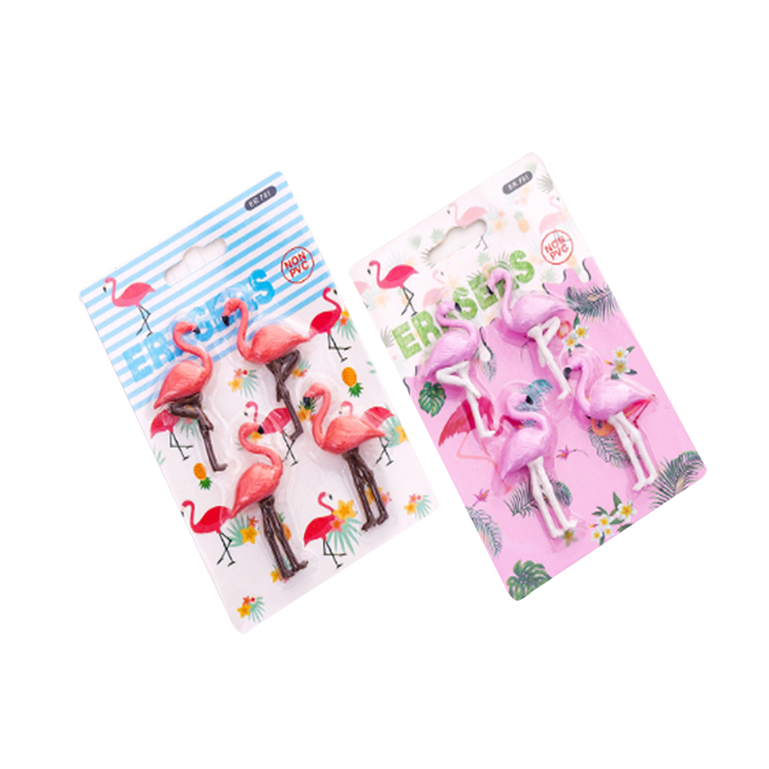 4pcs/lot Cute Flamingos Cartoon Animals Rubber Eraser Funny Student For Kids Stationery Student Gifts