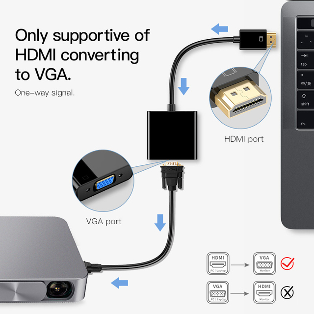 MOOJECAL High Quality HDMI to VGA Adapter | 1080p Digital to Analog Video/Audio For PC, Laptop or Tablet