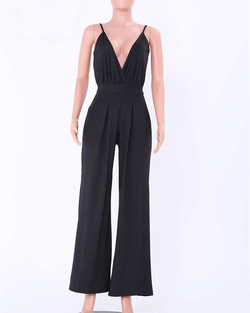 sexy deep v-neck off shoulder overalls rompers womens jumpsuit plus size summer 2018 one piece pants monos largos de mujer 2200 4