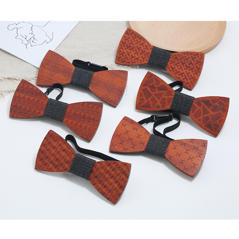 YISHLINE New Paisley Wooden Bow Tie Men's Plaid Bowtie Wood Geometric Carved Cut Out Floral Design Fashion Novelty Ties