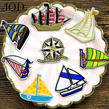 JOD 8PCS/Lot Embroidered Pirate Ship Patch Applique Buccaneer Iron on Embroidery Patches for Clothing Stickers Fabric Badge DIY