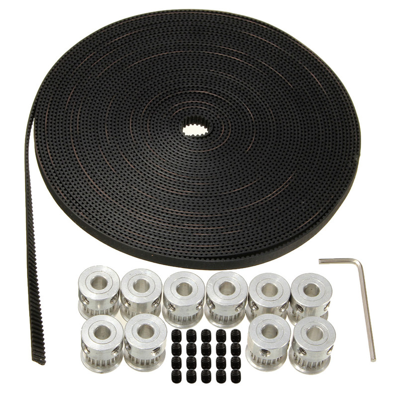 цена на 10pcs 20Teeth GT2 Timing Pulley Bore 5mm + 10m 33ft 2GT GT2 Timing Belt 6mm wide for 3D printer CNC RepRap