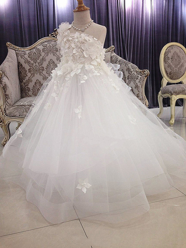 100% Real Images Ivory Tulle Flower Girls Dresses One Shoulder Handmade Flower Girls Pageant Birthday Dress First Communion Gown