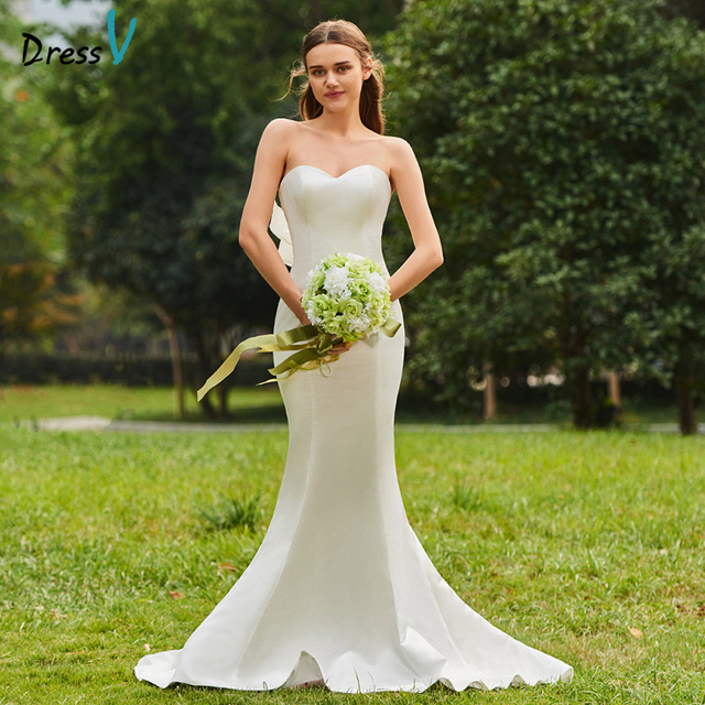 Dressv Long Wedding Dresses Sleeveless Sweetheart Neck Court Train Backless Mermaid Ruffles Garden Church Custom Wedding Dresses