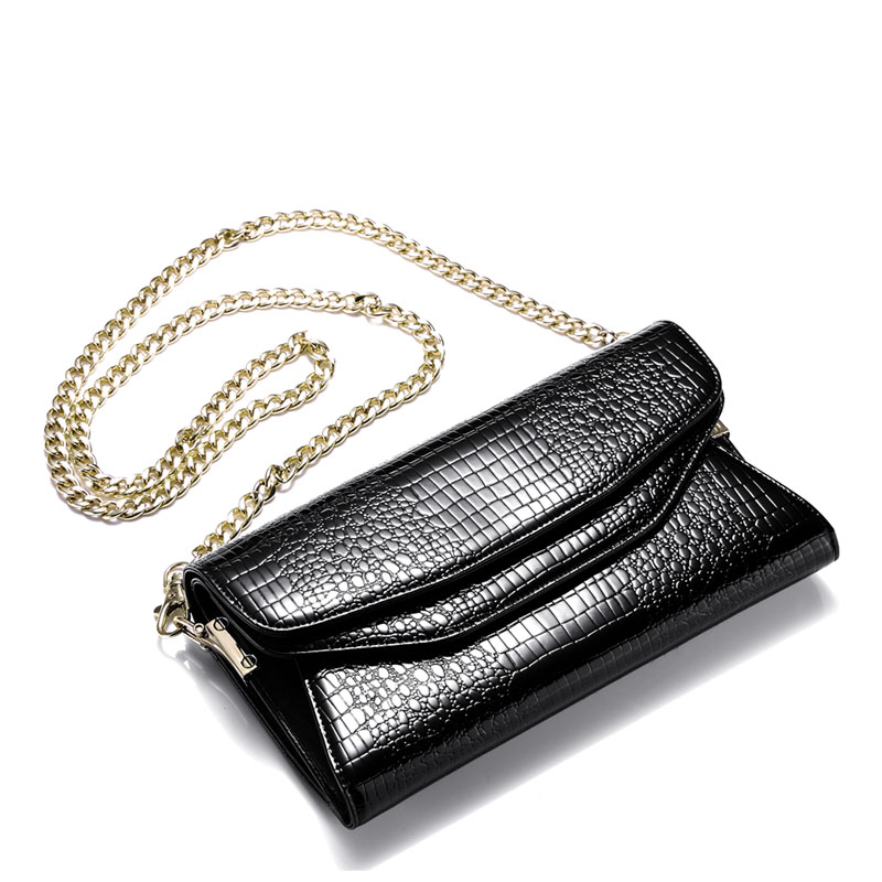 2017 Casual Tote Lady Shoulder Bag Genuine Leather Women Chain Handbag Black Brand Flap Pocket Hasp wallet Versatile J20 casual weaving design card holder handbag hasp wallet for women
