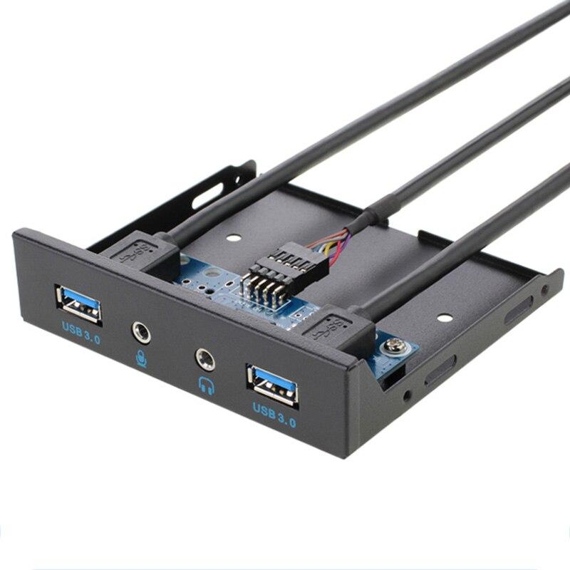 19Pin + 9Pin 2 Port USB Hub USB 3.0 HD Audio Panneau Avant Combo Support Adaptateur Pour Pc De Bureau Interne 3.5 FDD Disquette Bay