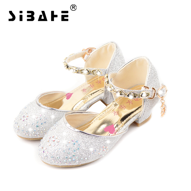 Sibahe Girls Sandals Children s Shoes Rhinestone Beading Glitter Leather  School Shoes Girls Sequined High Heels Party Shoes 7c0052f41818