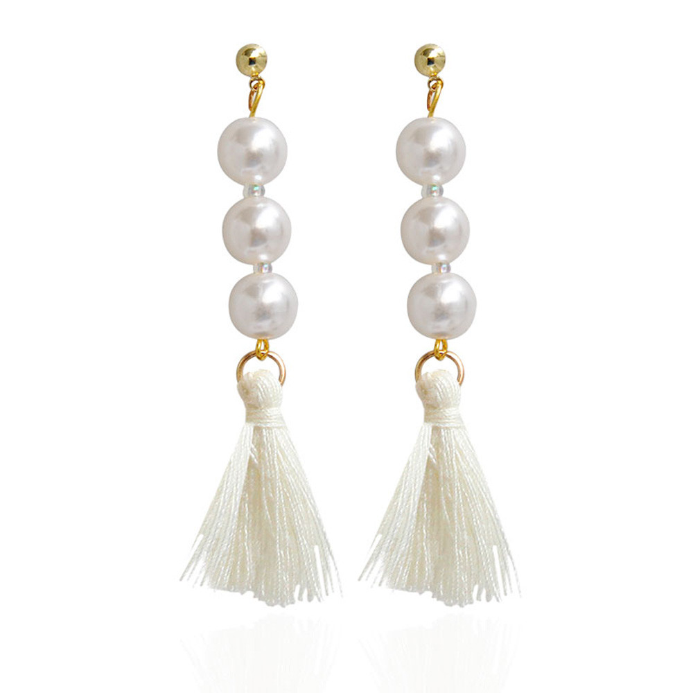 Diomedes Fashion Earrings 10cm Vintage Women's Elegant Pearl Drop Dangle  Long Chain Tassel Drop Earrings #