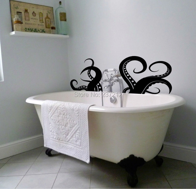 free shipping octopus tentacle sea creature vinyl wall sticker for bathroom bath decor decal