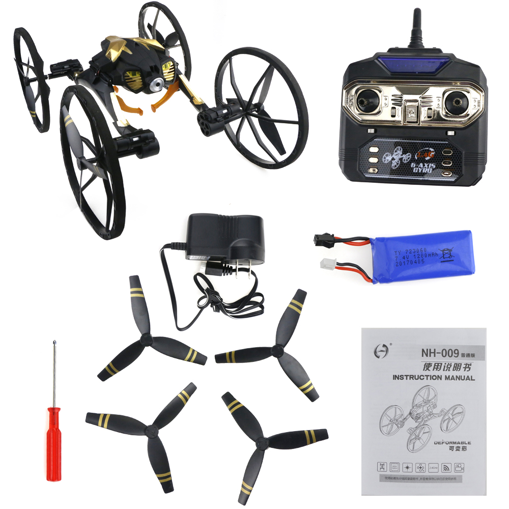 JJRC NH-009 Deformable WIFI FPV with 2MP Camera Ground / Flight Mode 2.4G 4CH 6-Axis Gyro One Key Return RC Drone Quadcopter RTF стоимость