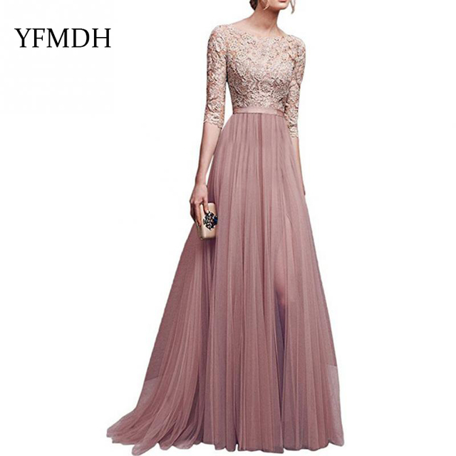 3b4f336f9a 2018 New Elegant Full Sleeve Chiffon Lace Stitching Floor-length Women  Party Prom Evening Red Long Dress Female Clothing Clothes