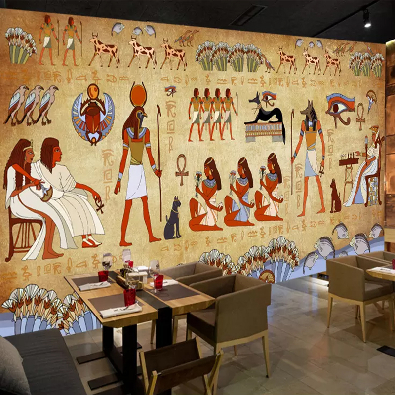 Photo Wallpaper European Style Retro 3D Ancient Egyptian Pharaoh Statue Murals Wall Painting Restaurant Cafe Hotel Backdrop Wall