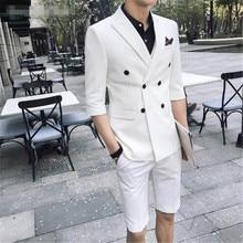 TPSAADE 2 peças de Verão Da Forma dos homens Double Breasted Branco/Vermelho/Cinza/Azul Slim Fit Jaqueta Curta vestido de Festa de casamento Do Noivo