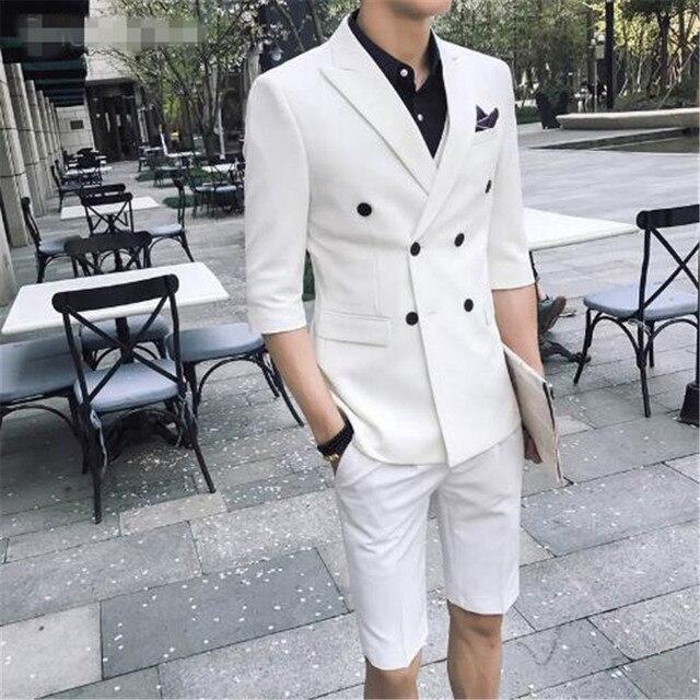 Tpsaade 패션 남자 2 조각 여름 더블 브레스트 화이트/레드/그레이/블루 슬림 맞는 짧은 재킷 웨딩 파티 드레스 신랑