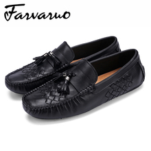 Farvarwo Italian Handmade Casual Shoes for Mens Genuine Leather Tassel Loafers Shoes Flats Slip on Weave Driving Mocassins Black