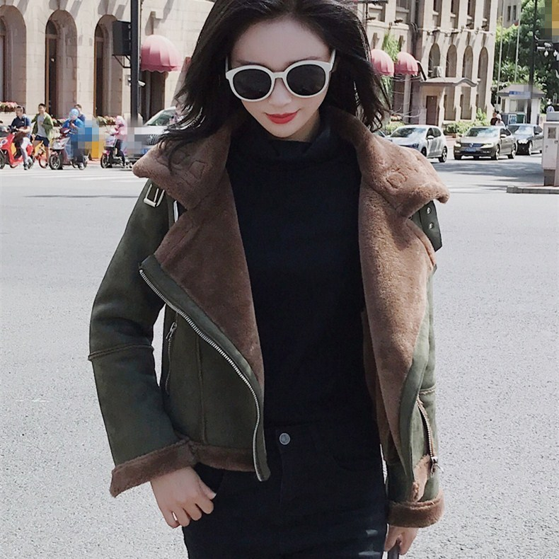 Women Faux   Leather   Motorcycle Jacket Winter Fur Biker   Suede   Coat Casual Long Sleeve Green Warm Outerwear