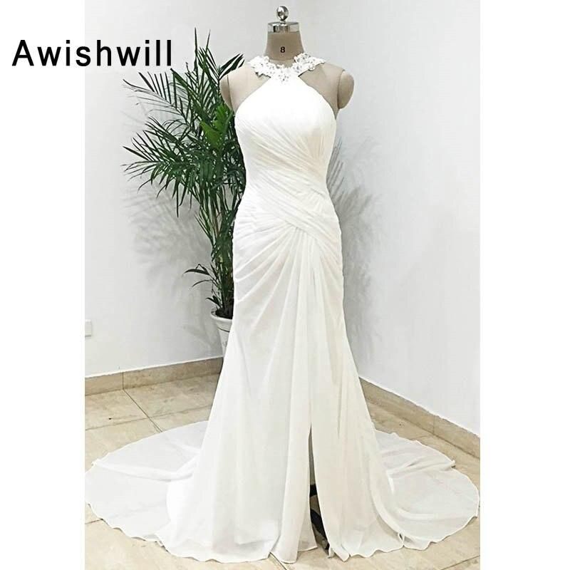 Real Photos Beach Wedding Dress Beadings Ruched Chiffon Women Elegant Long Wedding Gown Lace-up Back Boho Bridal Dress Cheap