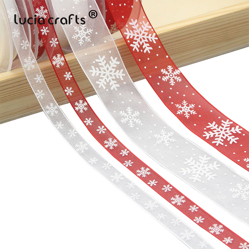 5Yards 10mm/25mm White,Red Snowflake Organza Ribbon DIY Bownot Gift Wrapping Party Christmas Ribbons Decoration 040044124