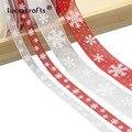 Lucia Crafts 5 ярдов 10 мм/25 мм Снежинка Органза лента сделай сам бант подарочная упаковка для рождества DecorP0303