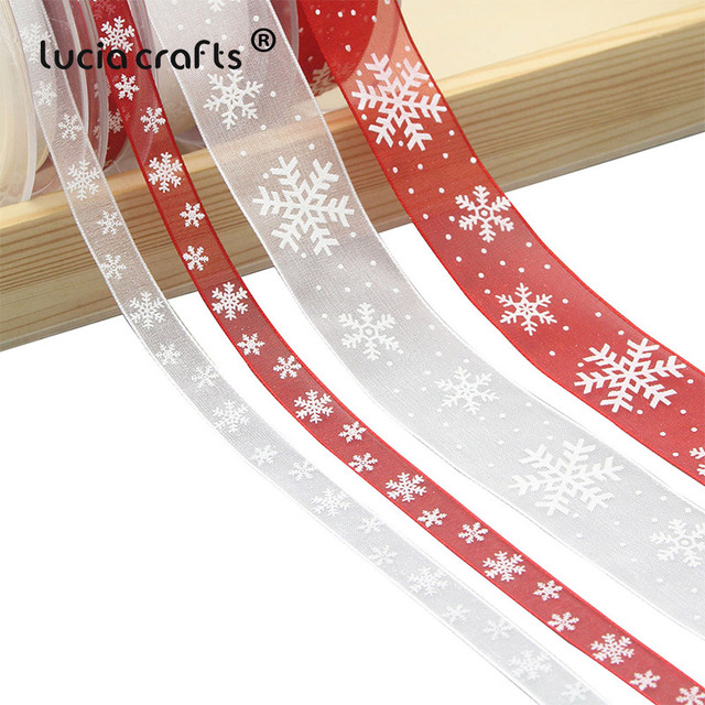 Lucia Crafts 5yard 10mm/25mm Snowflake Organza Ribbon DIY Bowknot Gift Wrapping For Christmas  DecorP0303