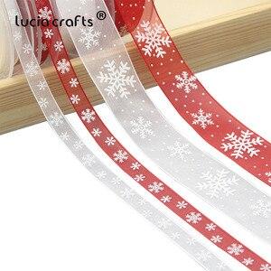Image 1 - Lucia artesanato 5 quintal 10mm/25mm floco de neve organza fita diy bowknot presente embrulho para o natal decorp0303