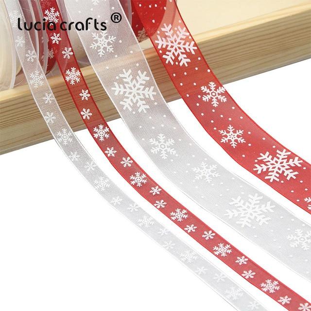 Lucia artesanato 5 quintal 10mm/25mm floco de neve organza fita diy bowknot presente embrulho para o natal decorp0303