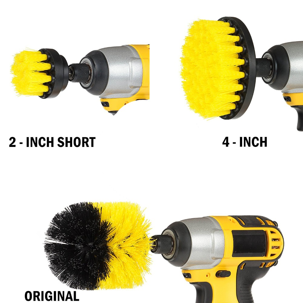 3 PCS Power Scrub Brush Drill Cleaning Brush For Bathroom Shower ...