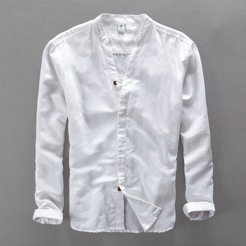 High Quality Men White Linen Shirt Stand Collar Chinese ...