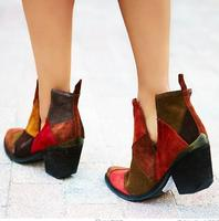 Fashion Multi Color Grid Suede Leather Women Ankle Boots Metal Pointed Toe Deep V Side Free