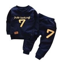 Spring Autumn Children Boys Girls Cotton Clothing Sets Toddler Letter Suits Kids Fashion Tracksuit Baby T-Shirt Pants 2Pcs/Sets недорого