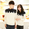 new 2016 autumn and winter fashion sweater Korean Slim first set of O neck print sweater sweater all-match long wind sweater