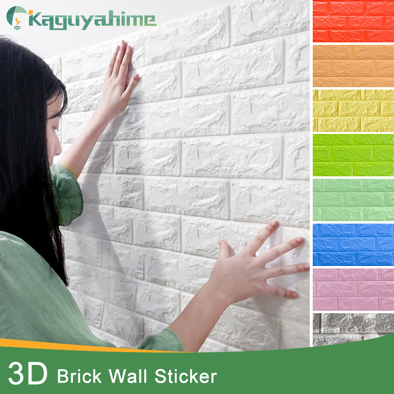 Kaguyahime 3D Wallpaper Brick DIY Waterproof Self-Adhesive Decor Tile Wallpaper For Kids Room Living Room 3D Wall Sticker Brick