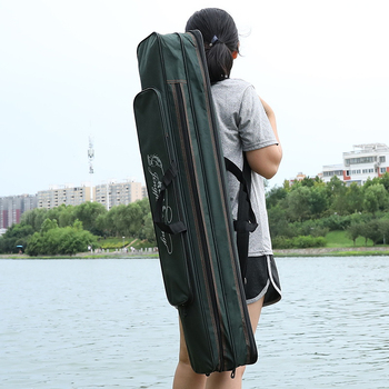70-120cm Folding Fishing Rod Bag Canvas Fishing Bags Waterproof Case Fish Pole Tools Storage Bags Case Holder Gear Tackle Pesca bag