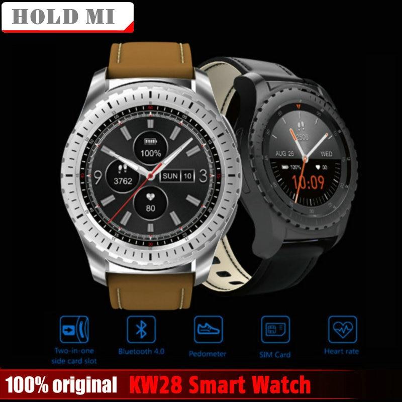 Segure Mi KW28 Bluetooth Relógio Inteligente Apoio SIM/TF Cartão Homens Relógio de Pulso de Freqüência Cardíaca de Fitness Rastreador Anti-lost para Android IOS Telefone