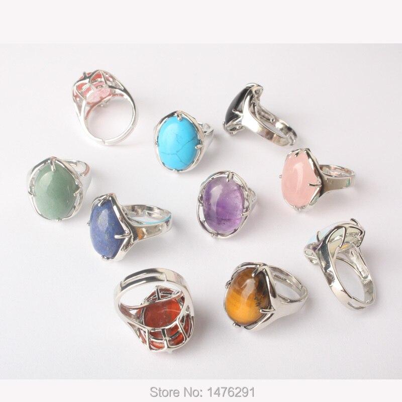 Neue Stilvolle Silber Überzogene Oval Mix-Kristall Stein Resizable Quarz Klar Kristall Ring Modeschmuck Ring 1PCS