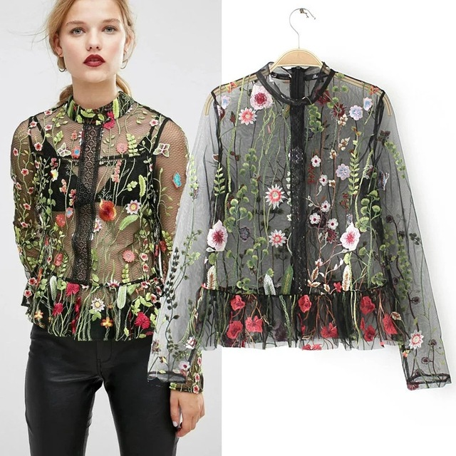 fashion blouses women black floral embroidery sexy blouse shirts long sleeve Oneck Ladies Elegant chic blusas 2017 women cloting